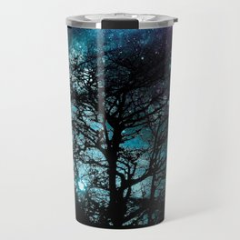 Black Trees Teal Violet space Travel Mug