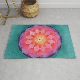 Watercolor Sacred Geometry Flower Mandala Rug