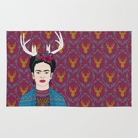 frida Area & Throw Rugs featuring DEER FRIDA by Bianca Green