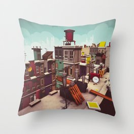 On the roofs of Inner Town Throw Pillow