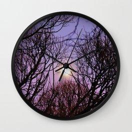 Full moon and purple sky Wall Clock