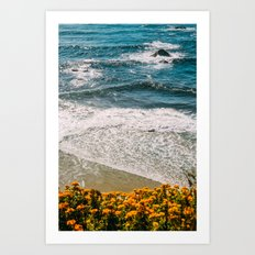 Flowers meet the Sea Art Print
