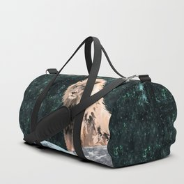 Lion King of the Emerald Panthera Galaxy Duffle Bag