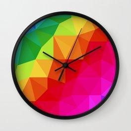 Rainbow Low Poly Wall Clock