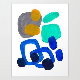 Minimalist Abstract Mid Century Modern Expressionist Organic Pattern Colorful Blue Aquamarine Teal Art Print