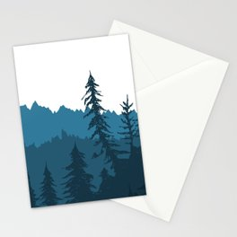 Tree Gradient Blue Stationery Cards