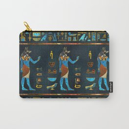 Anubis Egyptian  Gold, Blue and Red glass Carry-All Pouch