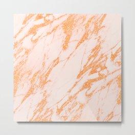 Gold Marble - Intense Rose Gold Glitter Metallic Marble Metal Print