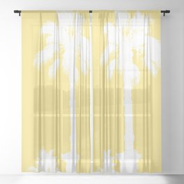 Palm Silhouettes On Yellow Sheer Curtain
