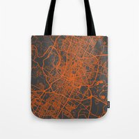 austin Tote Bags featuring Austin map by Map Map Maps