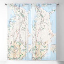 National Parks Trail Map Blackout Curtain