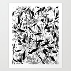 Wandering Wildflowers Black and White Art Print