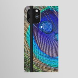 Peacock feather & water droplets iPhone Wallet Case