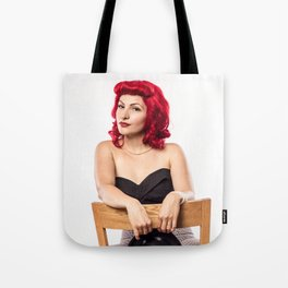 """""""Red Hair Don't Care"""" - The Playful Pinup - Red Haired Bowling Girl Pin-up by Maxwell H. Johnson Tote Bag"""