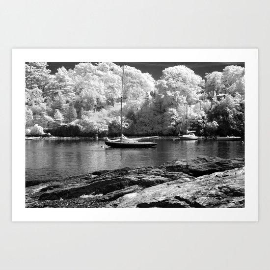 Boat Harbor near Newport Art Print
