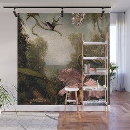 Orchids and Spray Orchids with Hummingbird by Martin Johnson Heade Wall Mural