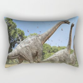 Dinosaurs walking on the river Rectangular Pillow