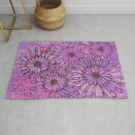 African Daisy, Pink Flowers, Floral Art Rug
