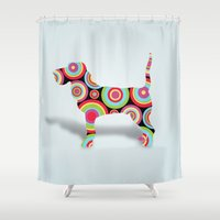 dogs Shower Curtains featuring dogs  by mark ashkenazi