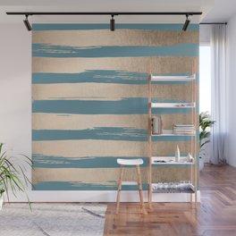 Painted Stripes Gold Tropical Ocean Blue Wall Mural