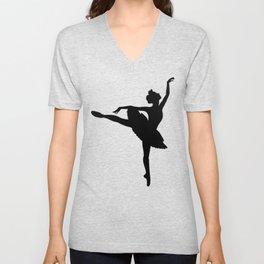Ballerina silhouette (black) Unisex V-Neck