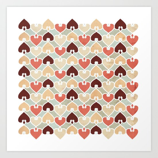 Heart knit pattern Art Print