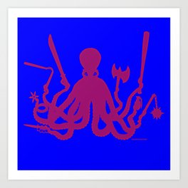 Octopus Weapons (red) Art Print