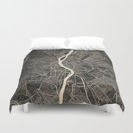 budapest map ink lines Duvet Cover