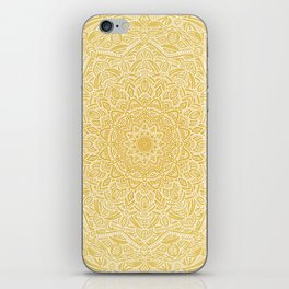Most Detailed Mandala! Yellow Golden Color Intricate Detail Ethnic Mandalas Zentangle Maze Pattern iPhone Skin