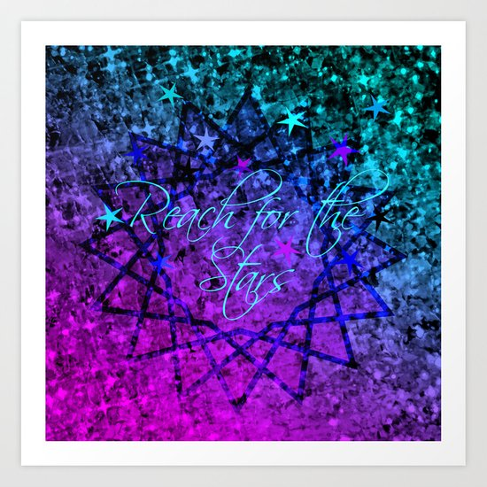 REACH FOR THE STARS Bold Midnight Blue Purple, Galactic Stars Space Abstract Fine Art Painting Art Print