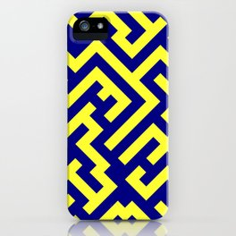 Electric Yellow and Navy Blue Diagonal Labyrinth iPhone Case