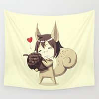 squirrel Wall Tapestries featuring Squirrel by Freeminds