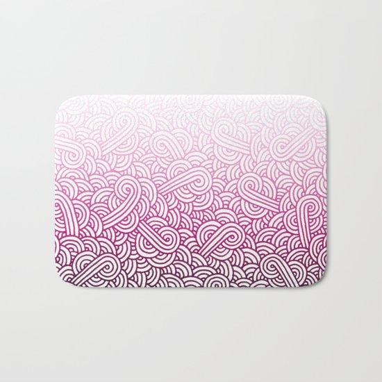 Gradient pink and white swirls doodles Bath Mat