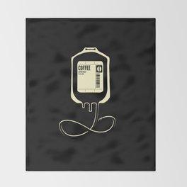 Coffee Transfusion - Black Throw Blanket
