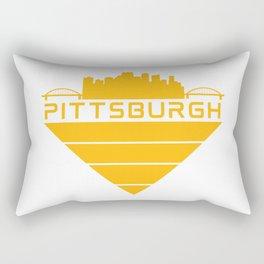 Pittsburgh Steel City Skyline Three Rivers Retro Print Rectangular Pillow
