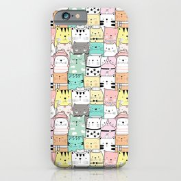 Crowd Of Hip Cats In Hats iPhone Case