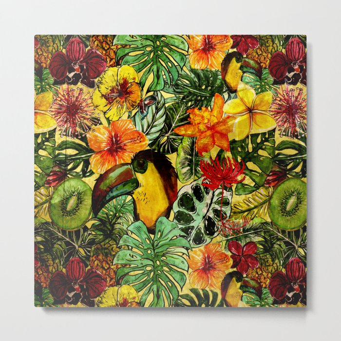 Tropical Vintage Exotic Jungle Flower Flowers - Floral watercolor pattern on #Society6 Metal Print