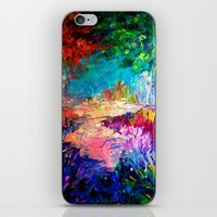 jazzberry iPhone & iPod Skins featuring WELCOME TO UTOPIA Bold Rainbow Multicolor Abstract Painting Forest Nature Whimsical Fantasy Fine Art by EbiEmporium