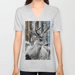 Deer in the Industrial Woods Unisex V-Neck