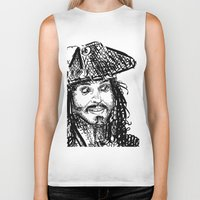 jack sparrow Biker Tanks featuring Jack Sparrow by Brittney Patterson