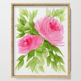 Pink Peonies in Watercolor Serving Tray