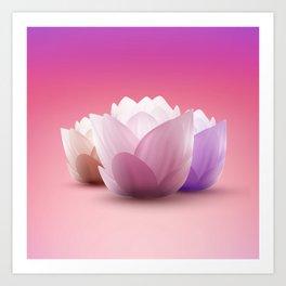 Elegant Gentle  Rose Lotus / Lily flower Art Print