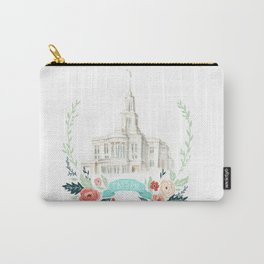 LDS Payson Temple Watercolor painting with flower wreath  Carry-All Pouch