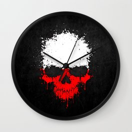 Flag of Poland on a Chaotic Splatter Skull Wall Clock