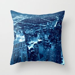Chicago Nights Blue Throw Pillow