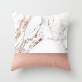 Rose gold marble and foil Throw Pillow