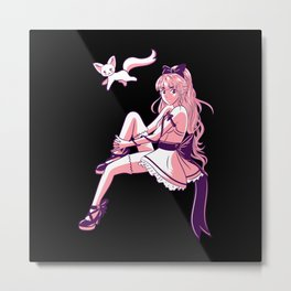 Anime Manga Girl Motif Metal Print