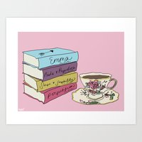 literature Art Prints featuring Lovely Literature by Robby Reads