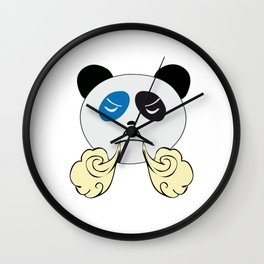 Panda Bear Face with Steam From Nose Wall Clock