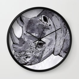 Rhino - Animal Series in Ink Wall Clock